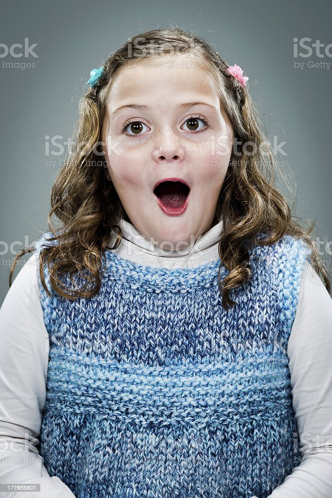 Little Girl with Surprise Expression royalty-free stock photo