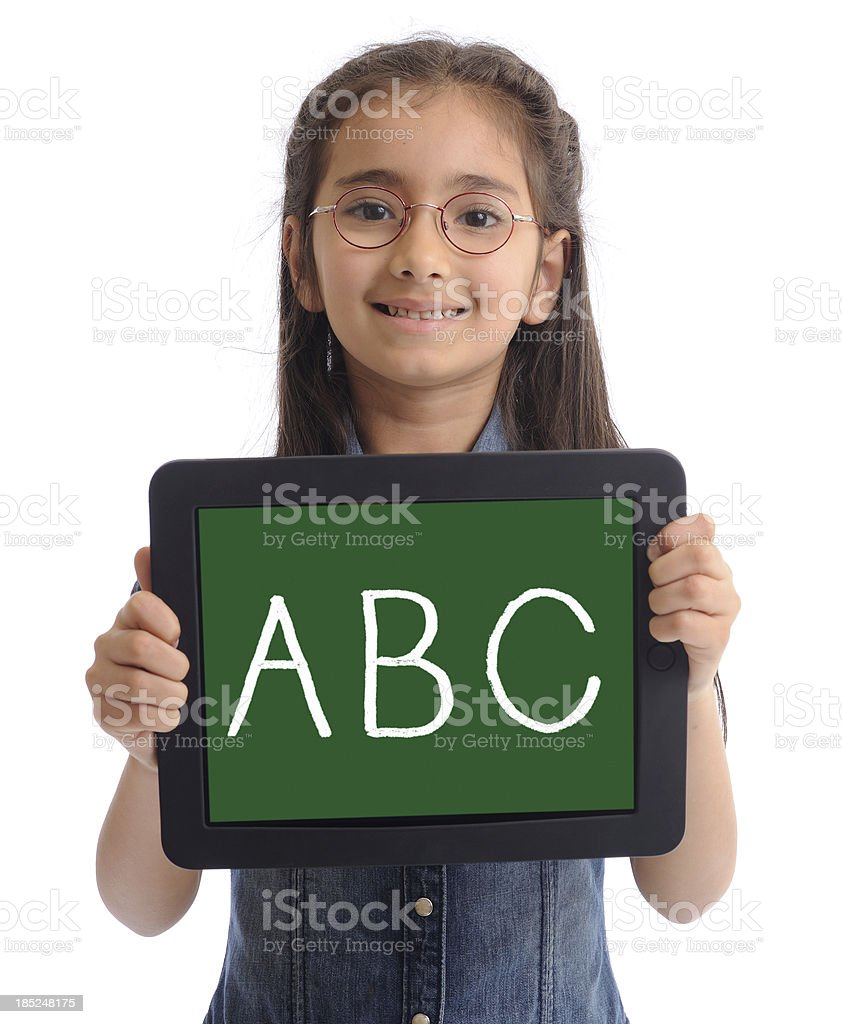 Little girl with tablet pc royalty-free stock photo