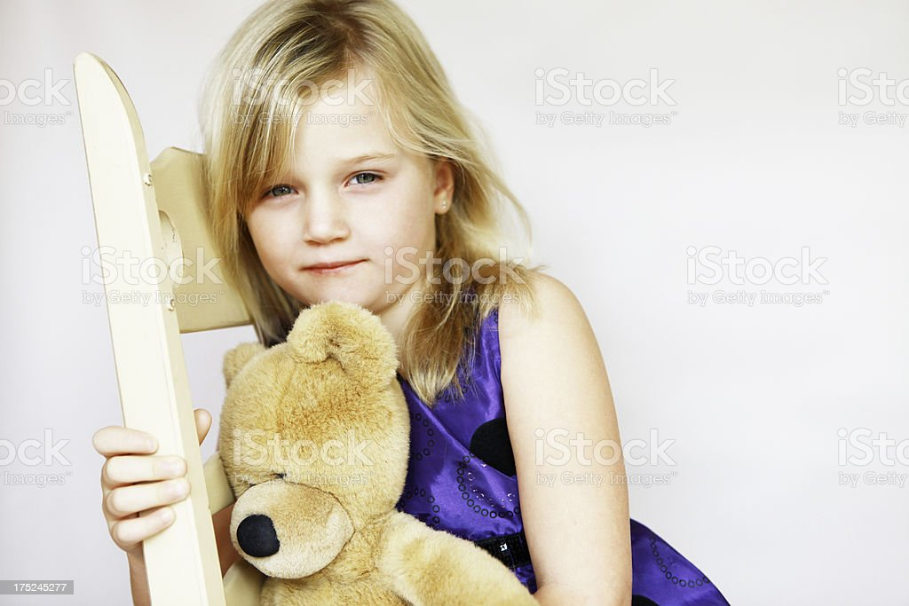 Little Girl with Teddy Bear royalty-free stock photo
