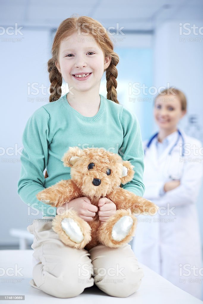 Little girl with teddy royalty-free stock photo