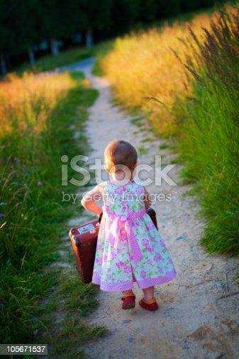 istock Little girl with the big  luggage 105671537