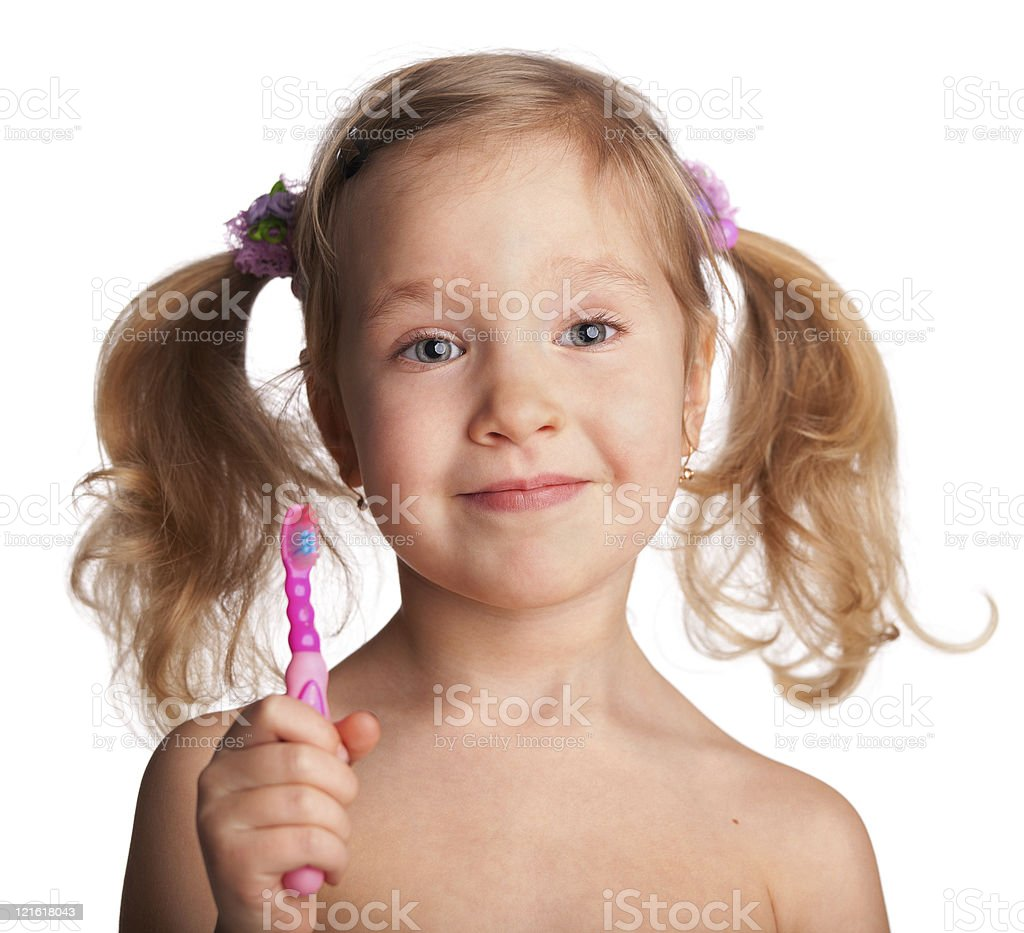 Little girl with toothbrush royalty-free stock photo