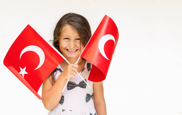 Little Girl With Turkish Flags Little Girl With Turkish Flags one girl only stock pictures, royalty-free photos & images