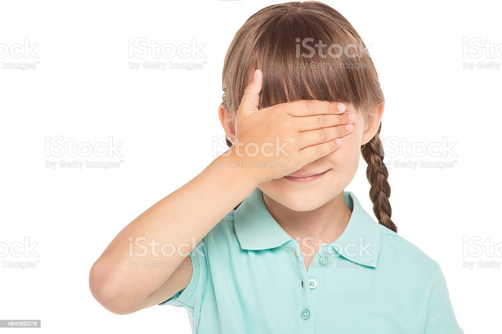 Little girl with two braids isolated on white stock photo