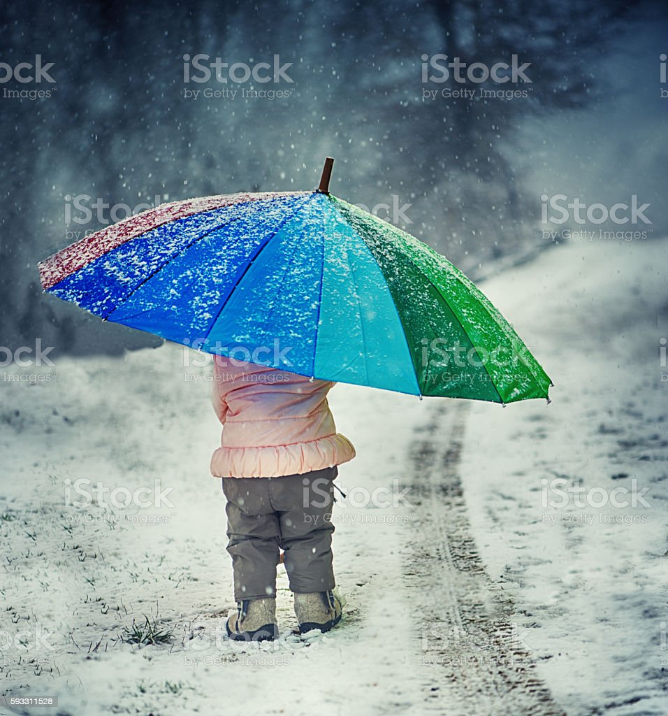 Little Girl With Umbrella stock photo