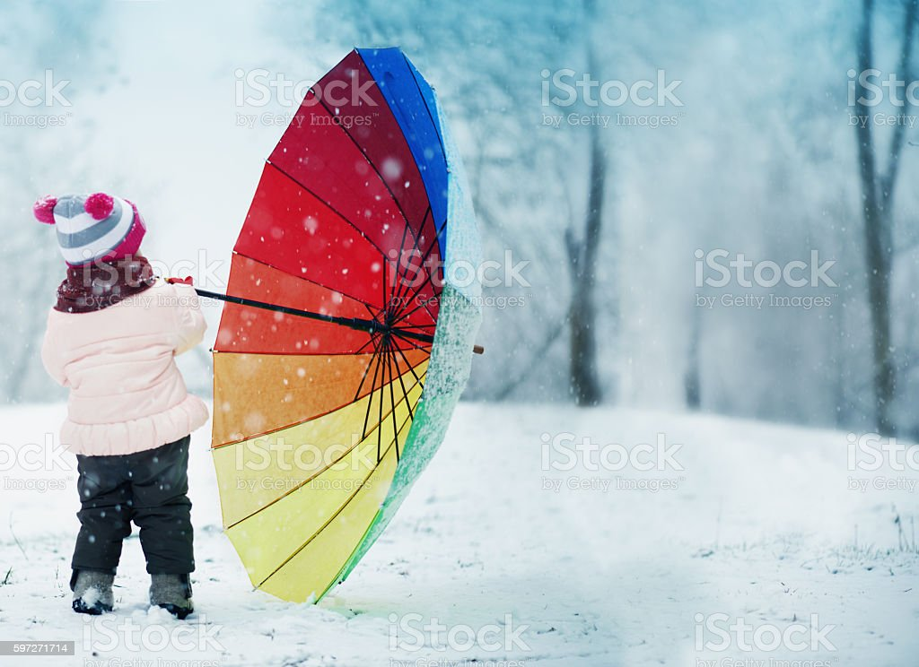 Little Girl With Umbrella royalty-free stock photo
