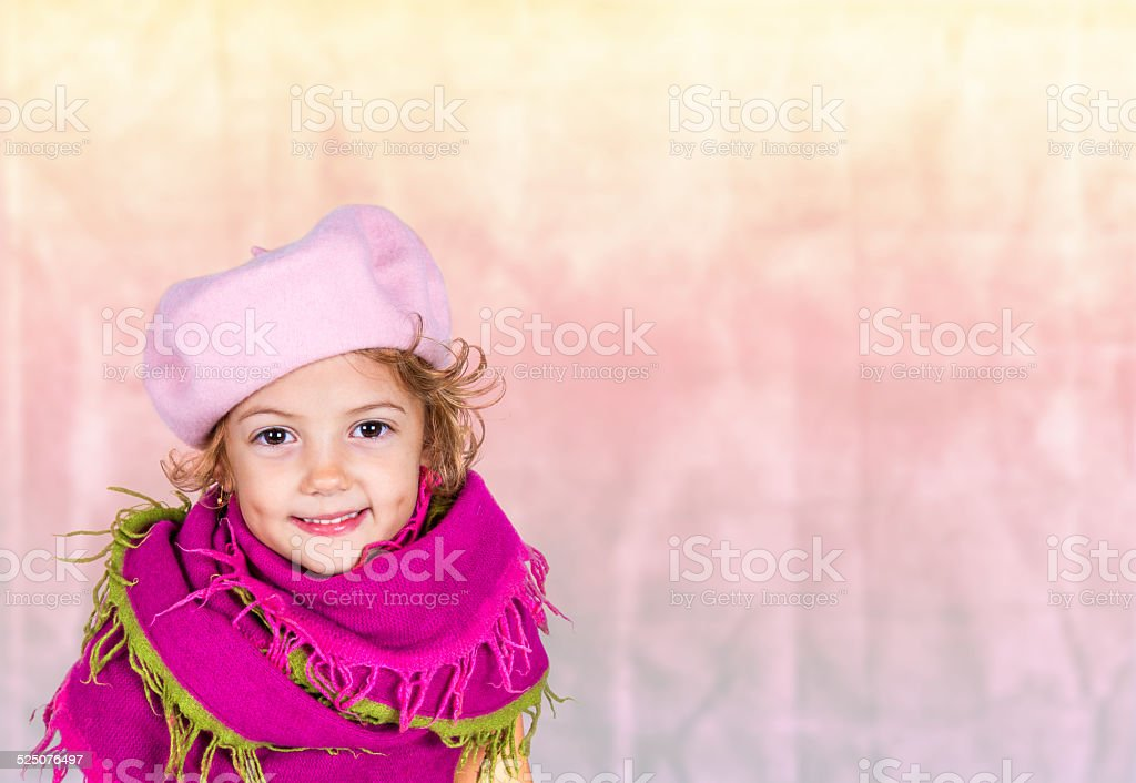 little girl with violet scarf stock photo