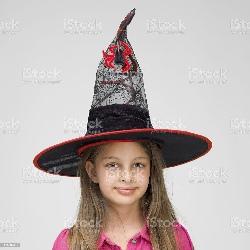 Little girl with witch's hat royalty-free stock photo