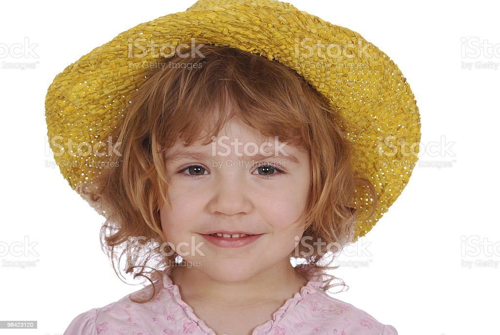 little girl with yellow straw hat royalty-free stock photo