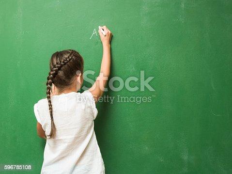 istock Little Girl Writing On Green Chalkboard 596785108