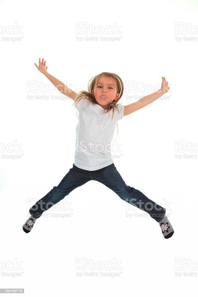 Little Girl X Jump stock photo
