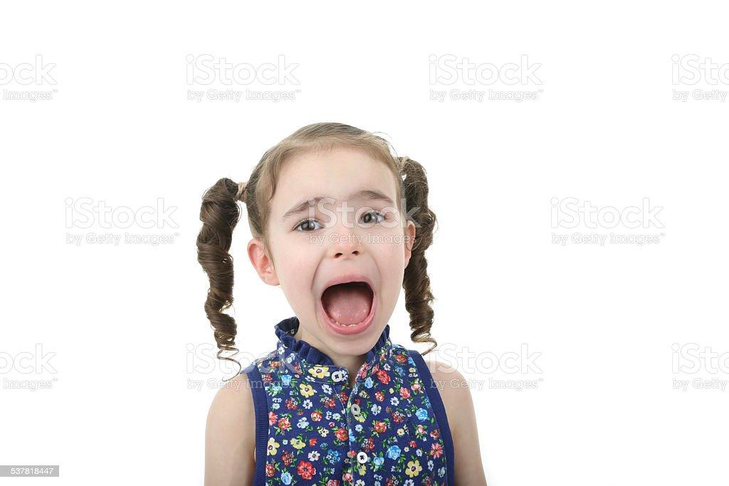 little girl yelling stock photo