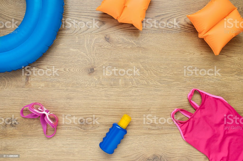 Little girl's beach accessories stock photo