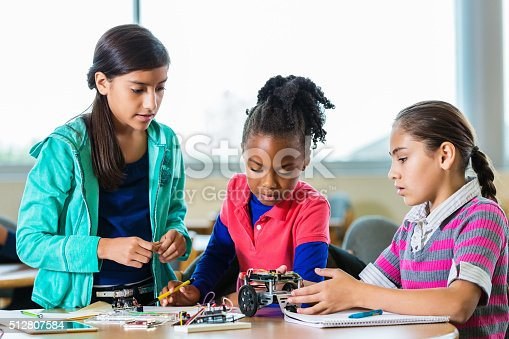 istock Little girls building robots during science class after school 512807584
