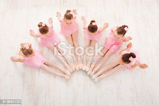 istock Little girls dancing ballet in studio 813634120