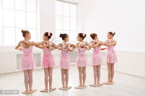 istock Little girls dancing ballet in studio 814447392
