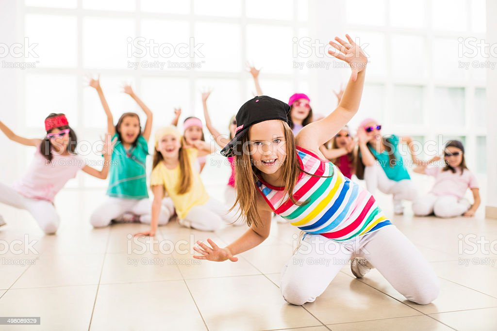 Little girls dancing. stock photo