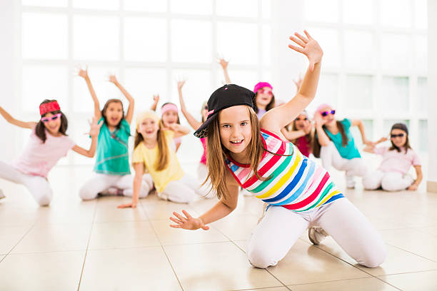 little girls dancing. - dance class stock photos and pictures