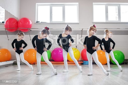 Little girls go dancing in a dance class. The concept of sport, education, childhood, hobbies and dance