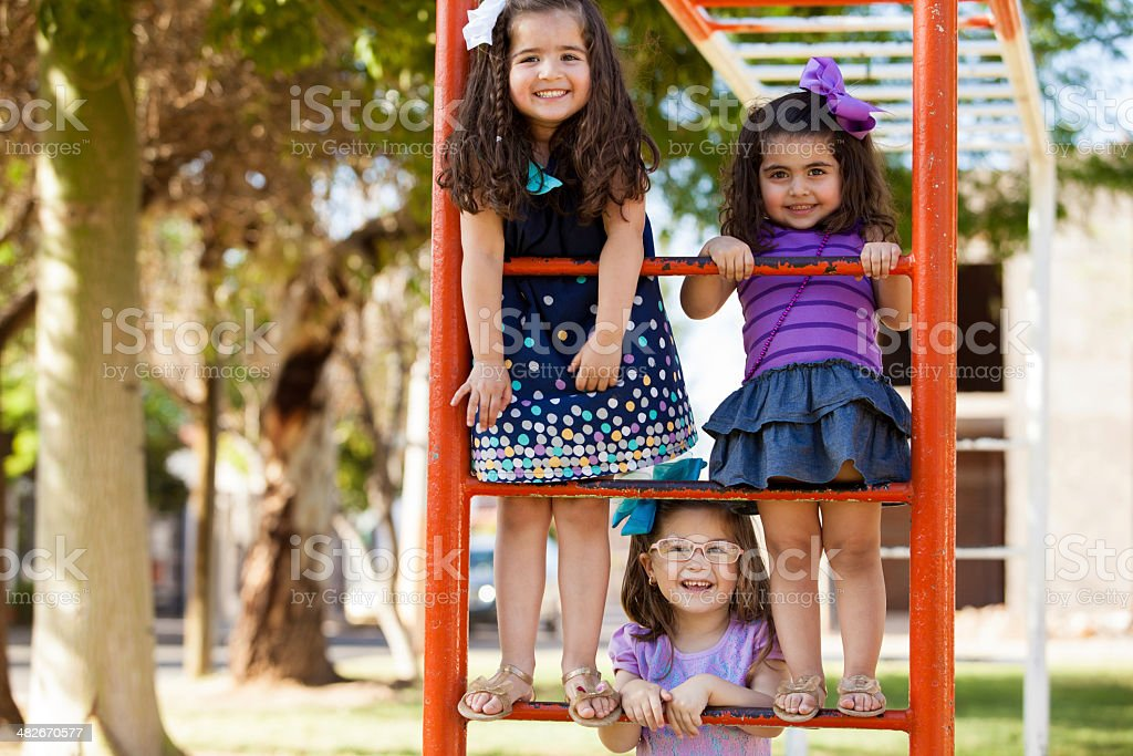 Little girls having fun together stock photo