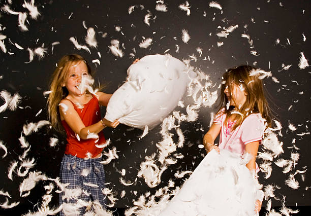 Little girls in a pillow fight with feathers flying everywhere stock photo