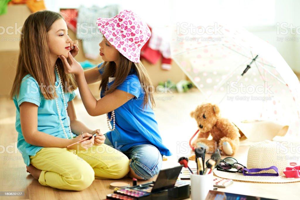 Little girls look glamorous stock photo