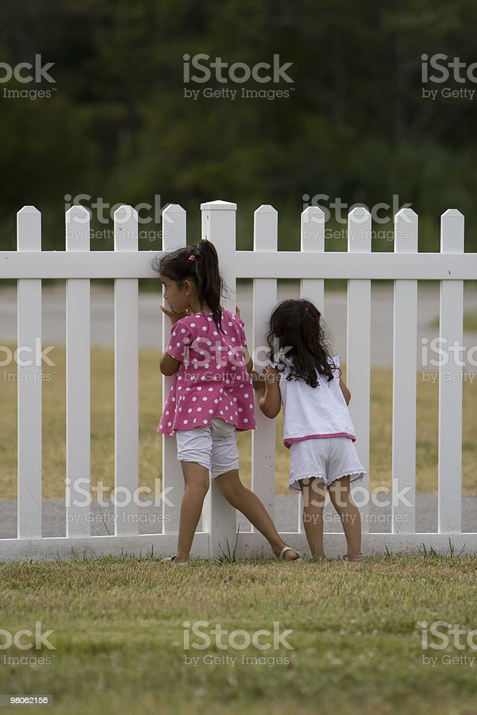 Little Girls Looking Through Fence royalty-free stock photo