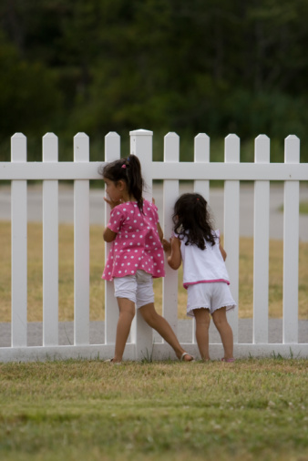 Little Girls Looking Through Fence