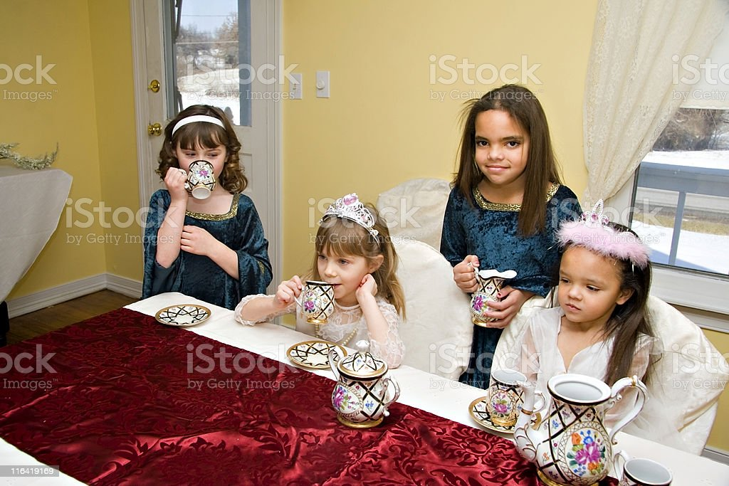 Little Girls Tea Party royalty-free stock photo