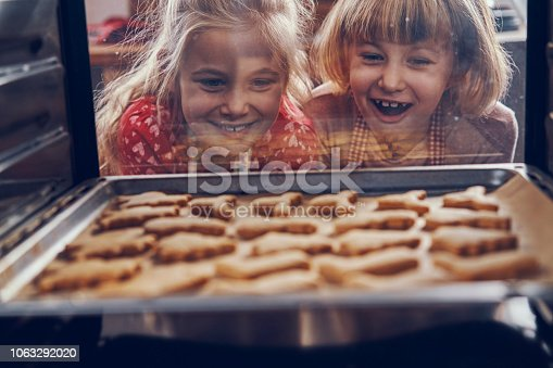 istock Little Girls Waiting for Christmas Cookies to Bake in the Oven 1063292020
