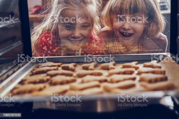 Little Girls Waiting For Christmas Cookies To Bake In The Oven - Fotografias de stock e mais imagens de Alegria