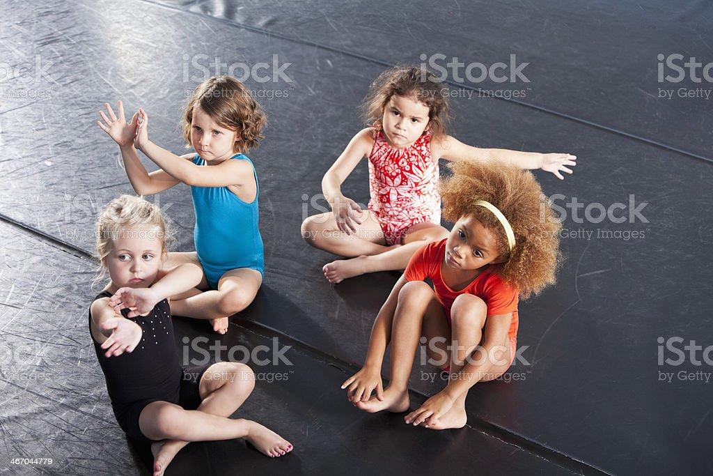Little girls wearing leotards stock photo