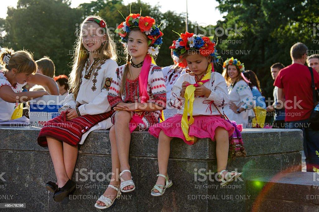 Little girls wearing Ukrainian national clothes, vyshyvanka stock photo