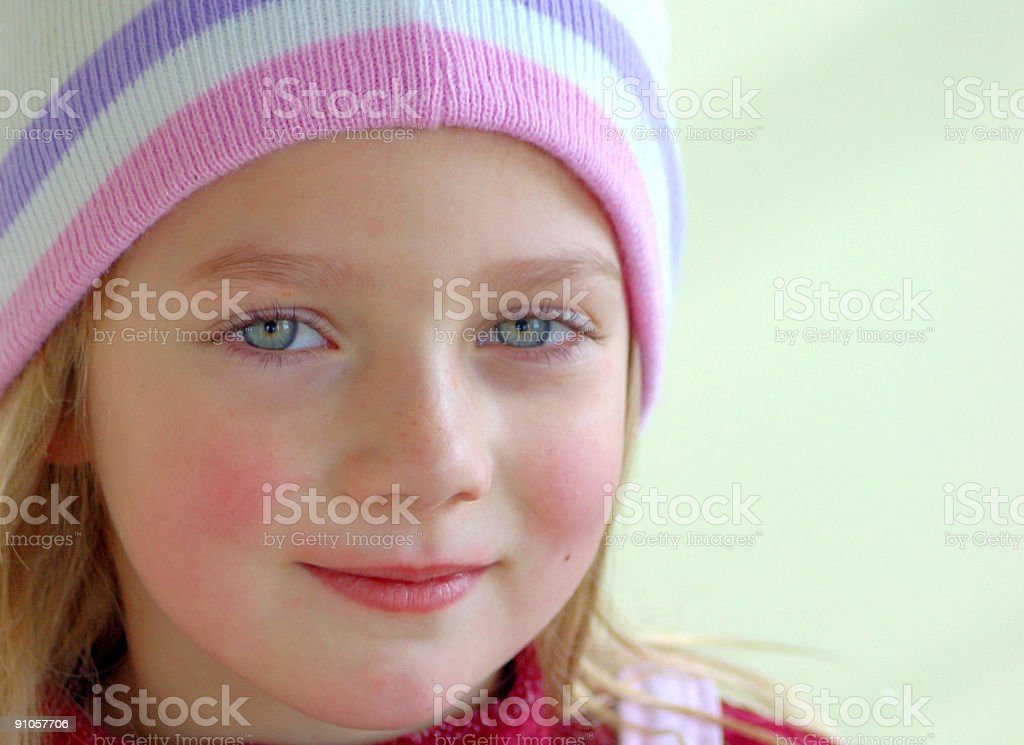 Little Girls with Chapped Lips and Cheeks stock photo