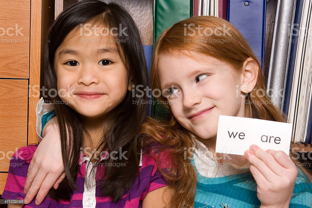 Little girls with sight words (series) royalty-free stock photo
