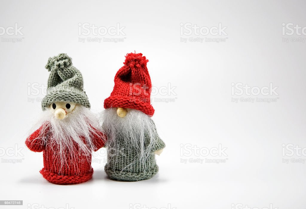 Little goblins waiting for Christmas. stock photo