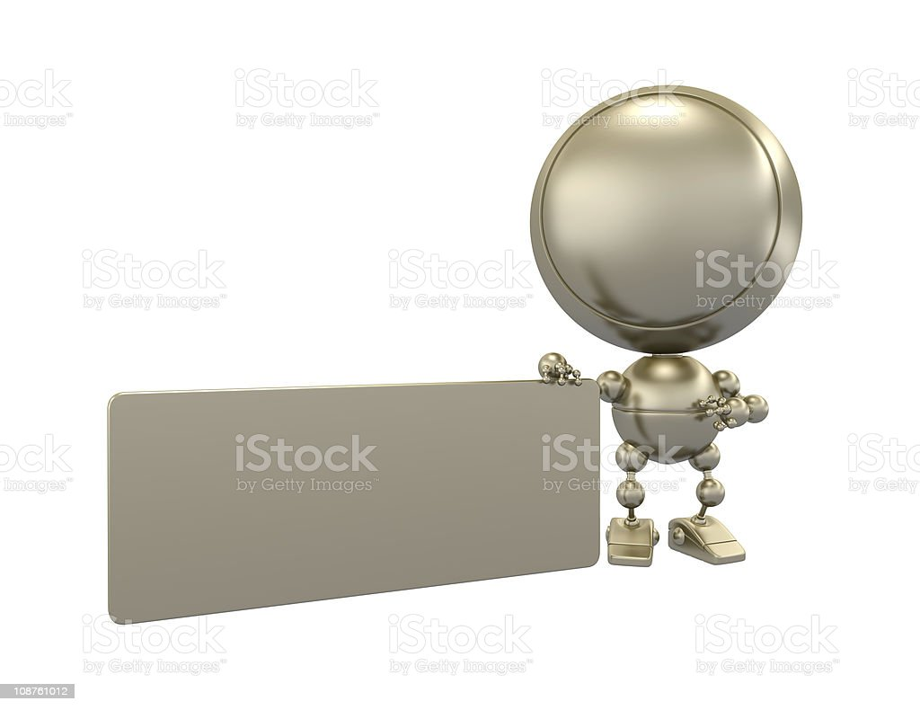 Little gold robot holds a card royalty-free stock photo