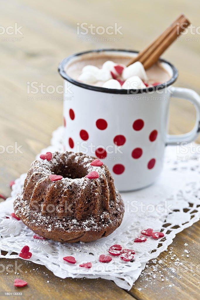 Little gugelhupf and hot chocolate royalty-free stock photo