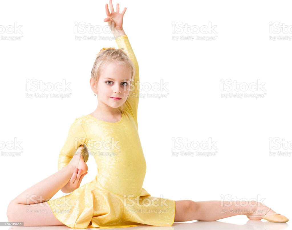 Little Gymnast girl with isolated on white royalty-free stock photo