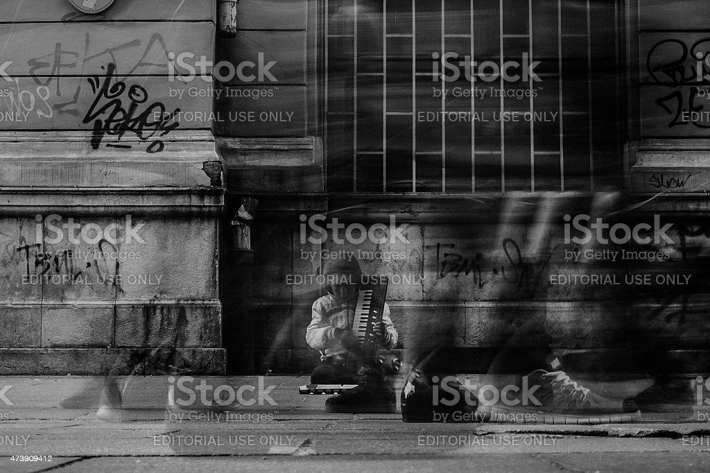 Little gypsy boy stock photo