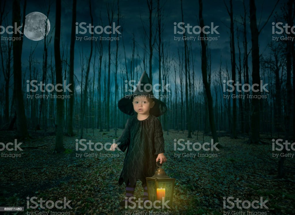 Little halloween witch in a forest stock photo