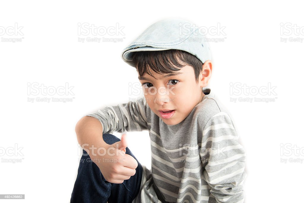 Little handsome boy portrait on white background stock photo