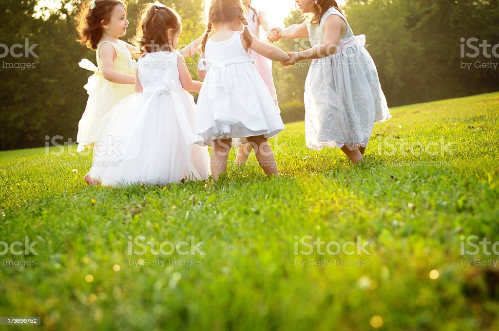 Little Happy, Dancing Princess Girls in Dresses royalty-free stock photo