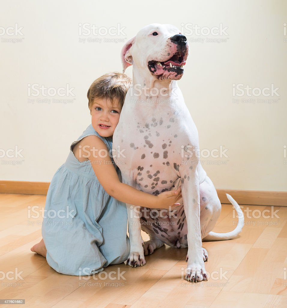 little happy girl on the floor with dog stock photo