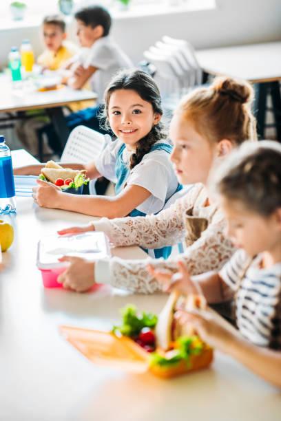 Little happy schoolgirls taking lunch at school cafeteria picture id1031956108?b=1&k=6&m=1031956108&s=612x612&w=0&h=kx c 9w6wro5 vtxngf1liwt2yavburskuu6yhisysw=