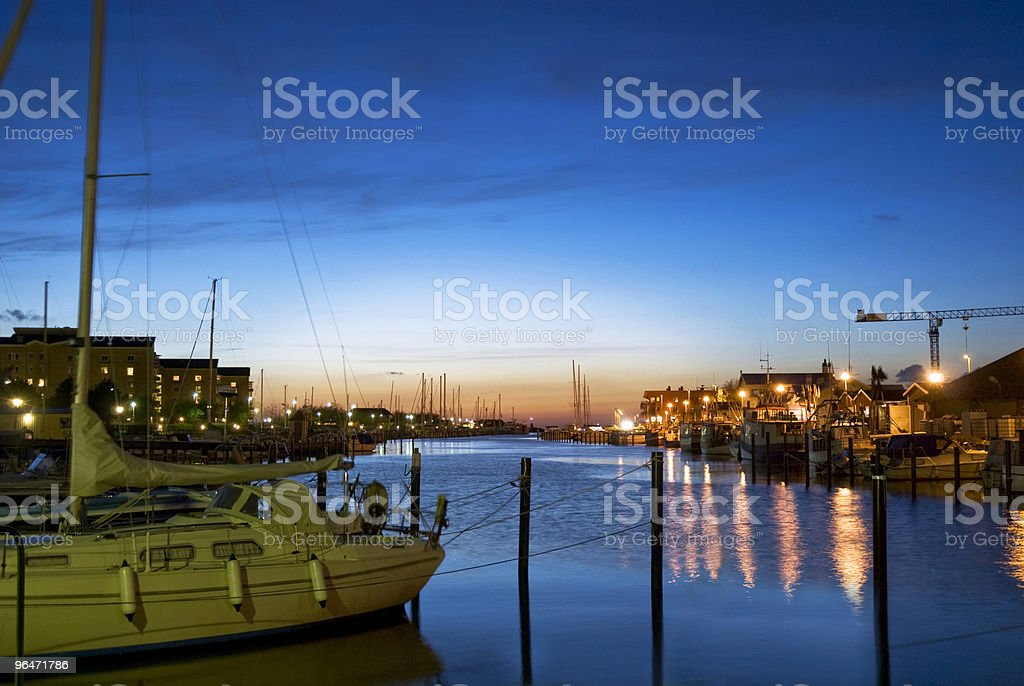 Little harbour at night royalty-free stock photo