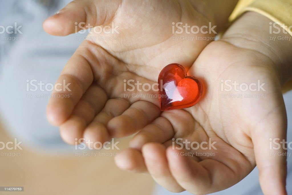 little hearts in child hands royalty-free stock photo
