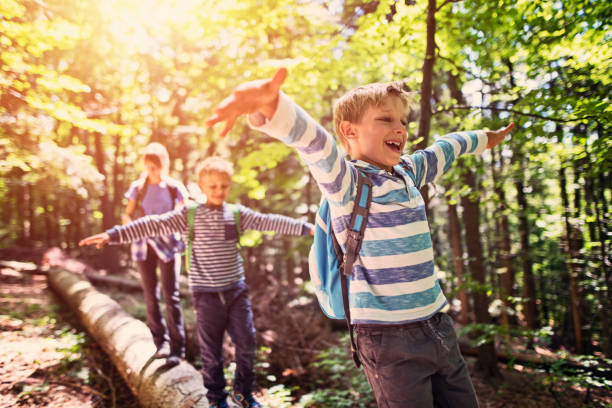 little hikers walking on a tree trunk  in forest - family vacation stock photos and pictures