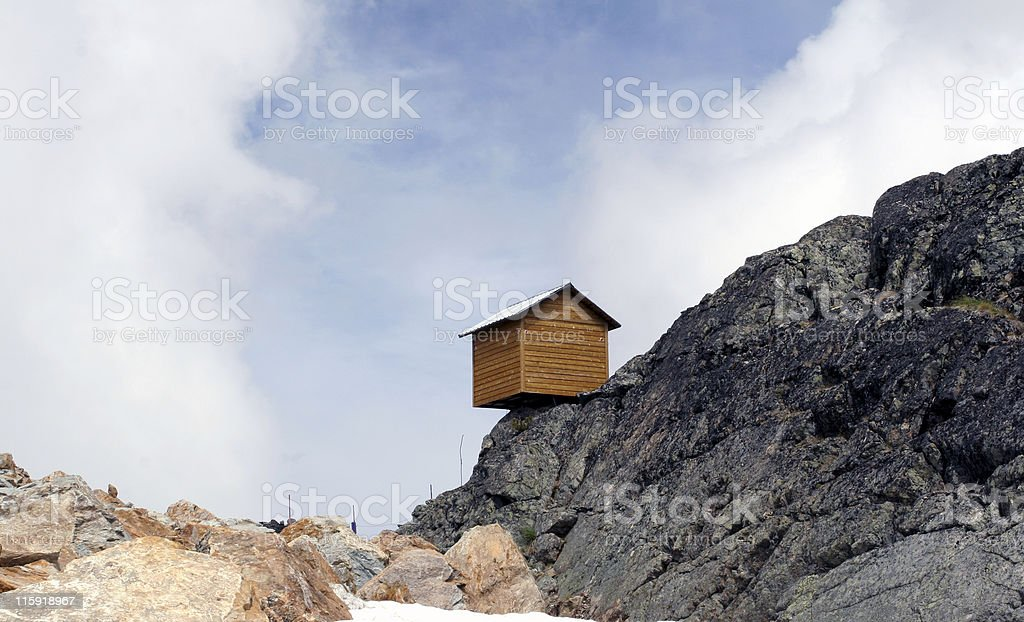 Little House on the Precipice - Blue Sky Thinking This little shed was perched precariously near the summit of Whistler mountain, British Columbia, Canada. Abstract Stock Photo