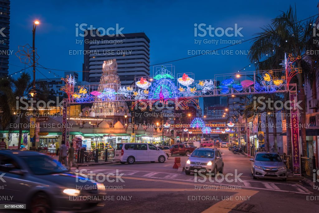 Little India of Johor Bahru decorated for Deepavali stock photo